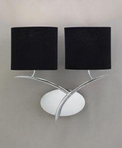 Aplique cromo negro 2 luces EVE