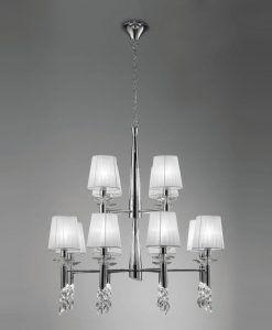 Lámpara grande cromo TIFFANY 12+12 luces