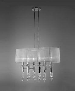 Lámpara cromo pantalla TIFFANY 6+6 luces