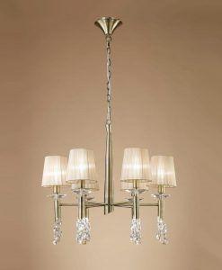 Lámpara mediana cuero TIFFANY 6+6 luces