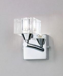 Aplique pequeño cromo cristal CUADRAX 1 luz