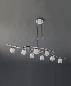 Lámpara cromo grande LOOP 8 luces