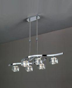 Lámpara pequeña cromo cristal CUADRAX 6 luces