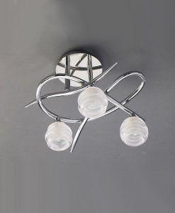 Plafón cromo pequeño LOOP 3 luces