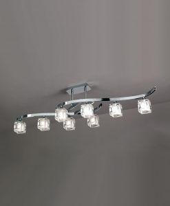 Plafón grande cromo CUADRAX 8 luces