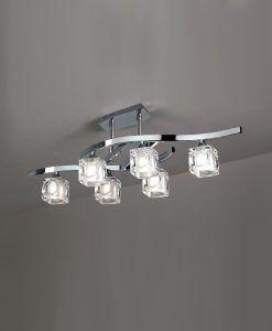 Plafón mediano cromo CUADRAX 6 luces