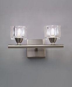 Aplique grande níquel cristal CUADRAX 2 luces