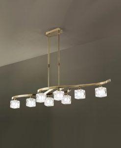 Lámpara grande cuero CUADRAX 8 luces
