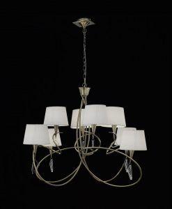 Lámpara grande cuero MARA 8 luces