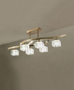 Plafón mediano cuero cristal CUADRAX 6 luces