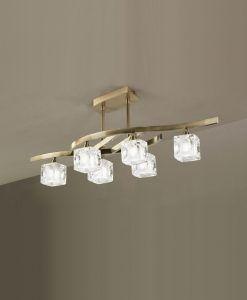 Plafón mediano cuero CUADRAX 6 luces