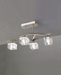 Plafón pequeño níquel cristal CUADRAX 4 luces