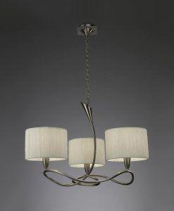 Lámpara blanco níquel LUA 3 luces