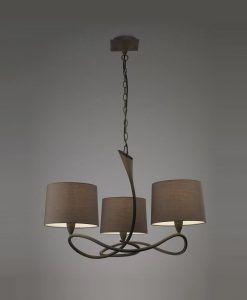 Lámpara gris ceniza LUA 3 luces