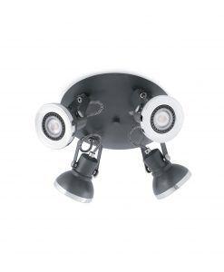 Plafón gris RING 4 luces