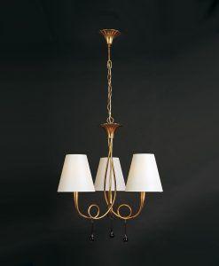 Lámpara con tres luces blanca y dorado PAOLA