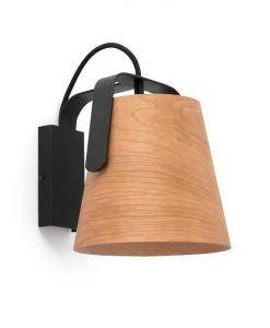 Lámpara aplique madera y negro STOOD