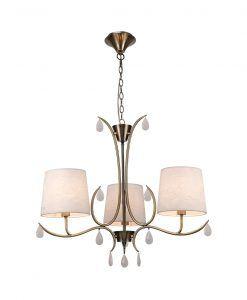 Lámpara colgante 3 luces cuero satinado ANDREA