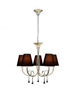 Lámpara colgante 5 luces plata PAOLA