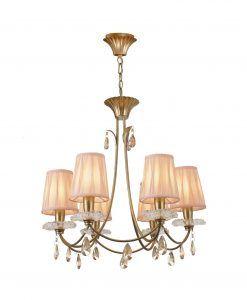 Lámpara colgante 6 luces dorado SOPHIE
