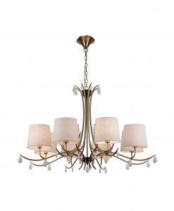 Lámpara colgante 8 luces cuero satinado ANDREA