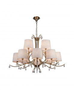 Lámpara de techo 12 luces cuero satinado ANDREA