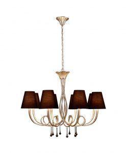 Lámpara de techo 8 luces plata PAOLA