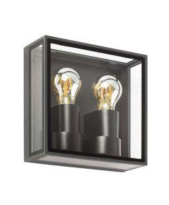 Aplique dos luces E27 gris oscuto POMO