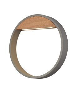 Aplique exterior 12W gris y madera Ø 32 cm CYCLE LED