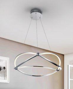 Lámpara cromo 60 cm Ø OCELLIS LED