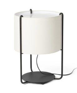 Lámpara de mesa negra y pantalla beige DRUM