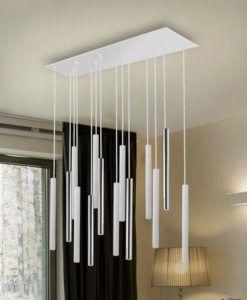 Lámpara 14 luces LED dimable cromo y blanco mate VARAS