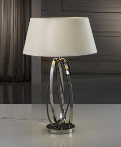 Lámpara de mesa níquel pulido y tulipa color hueso OVALOS