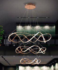 Lámpara oro rosa dimable 3 aros Ø 110 cm MOLLY LED
