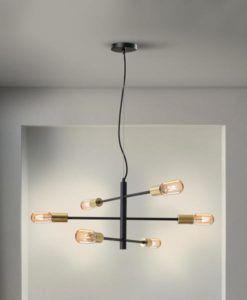 Lámpara negra y dorada 6 luces regulable SOHO