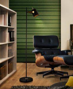 Pie de salón 1 luz negro dorado y polipiel ADAME
