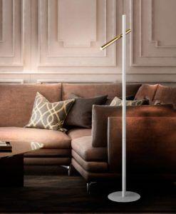 Pie de salón 2 luces blanco mate y oro VARAS LED