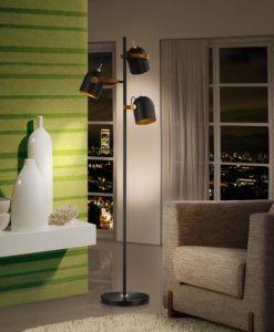Pie de salón 3 luces negro dorado y polipiel ADAME
