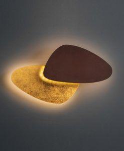 Aplique LED acero corten marrón óxido y oro CONTRA