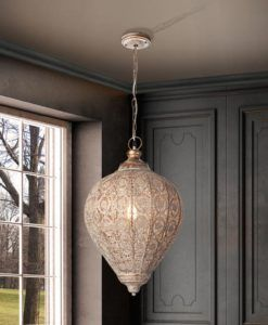 Lámpara árabe e india 1 luz color champán TEBAS
