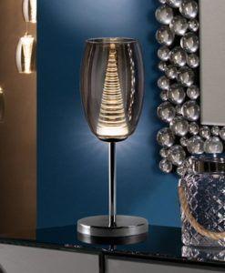 Lámpara de mesa doble tulipa cromo NEBULA LED