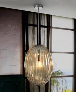Lámpara techo de cristal tono coñac OVILA 30 Ø